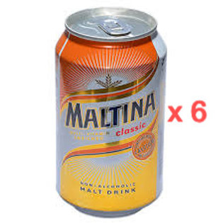Maltina Non-Alcoholic malt drink  (330ml x 6 cans)