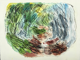 Sunken Road- monoprint with chine clle.j