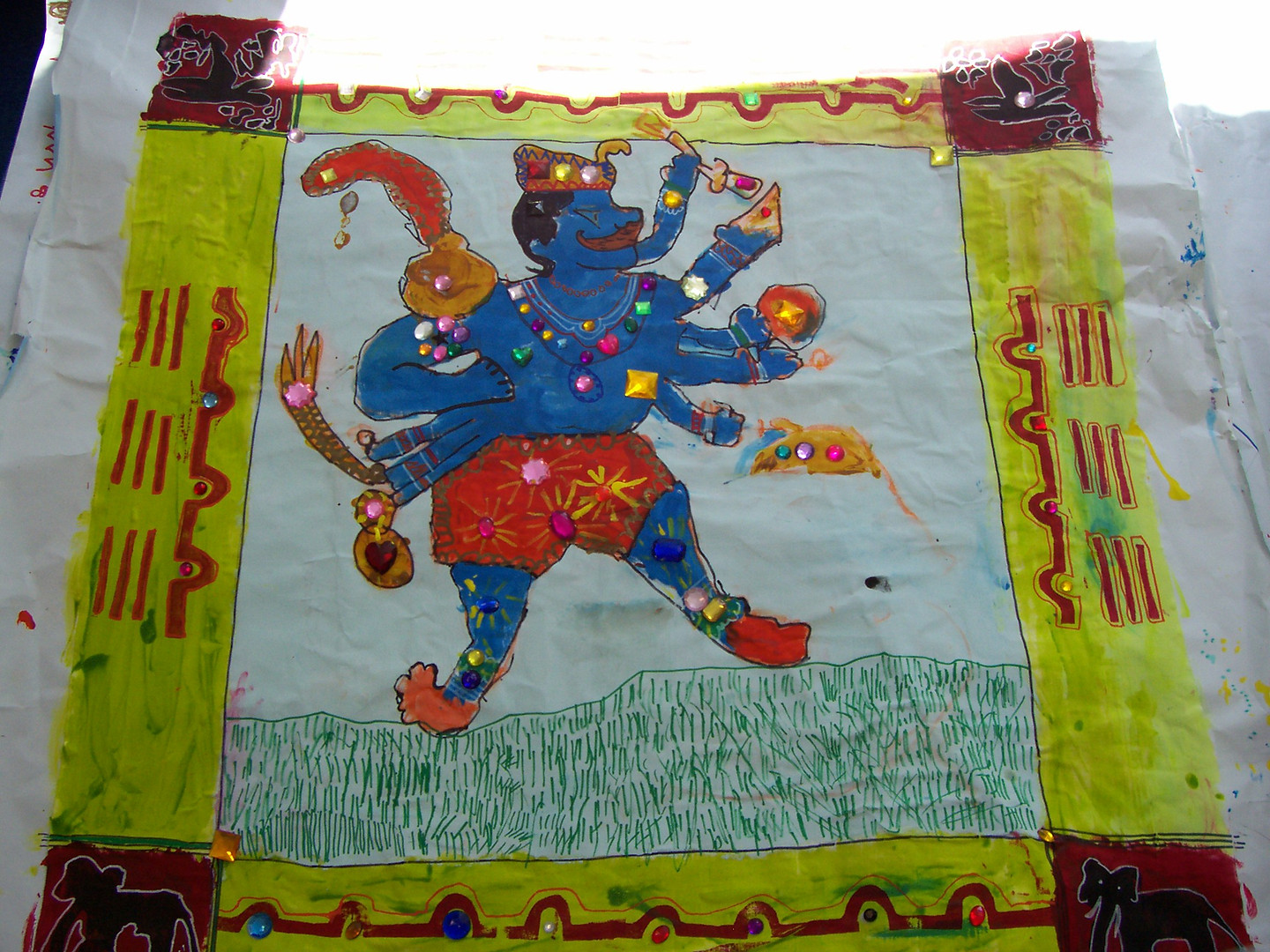 Indian banners with Thomas Jones School
