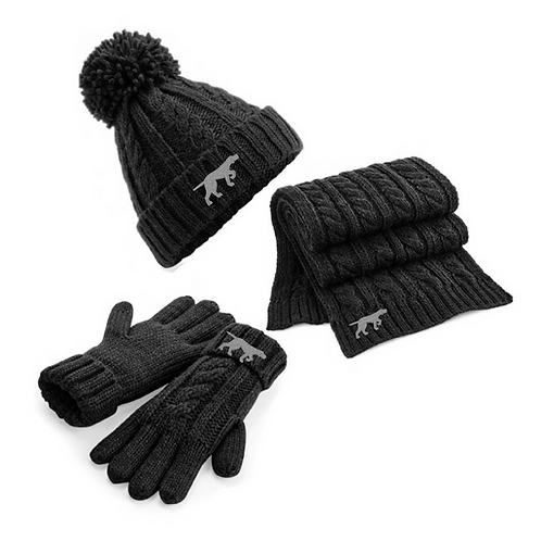 GSP Rescue UK  - Pointy - Full Set of Cable Knit  Bobble Hat, Scarf & Gloves