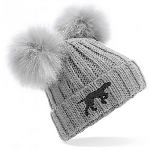 GSP Rescue UK  - Pointy - BB414 Faux Fur Double Pom Pom Hat