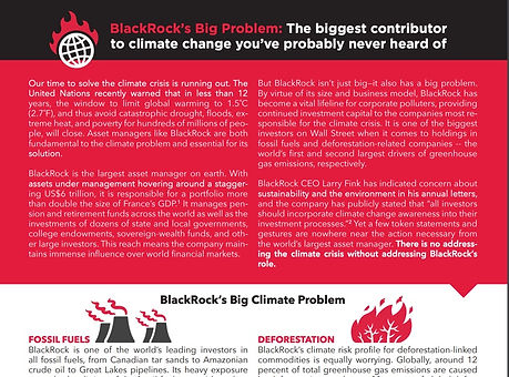 Briefing paper on BlackRock's role drivig the climate crisis