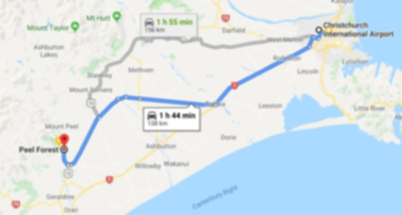 directions from christchurch airport to peel forest