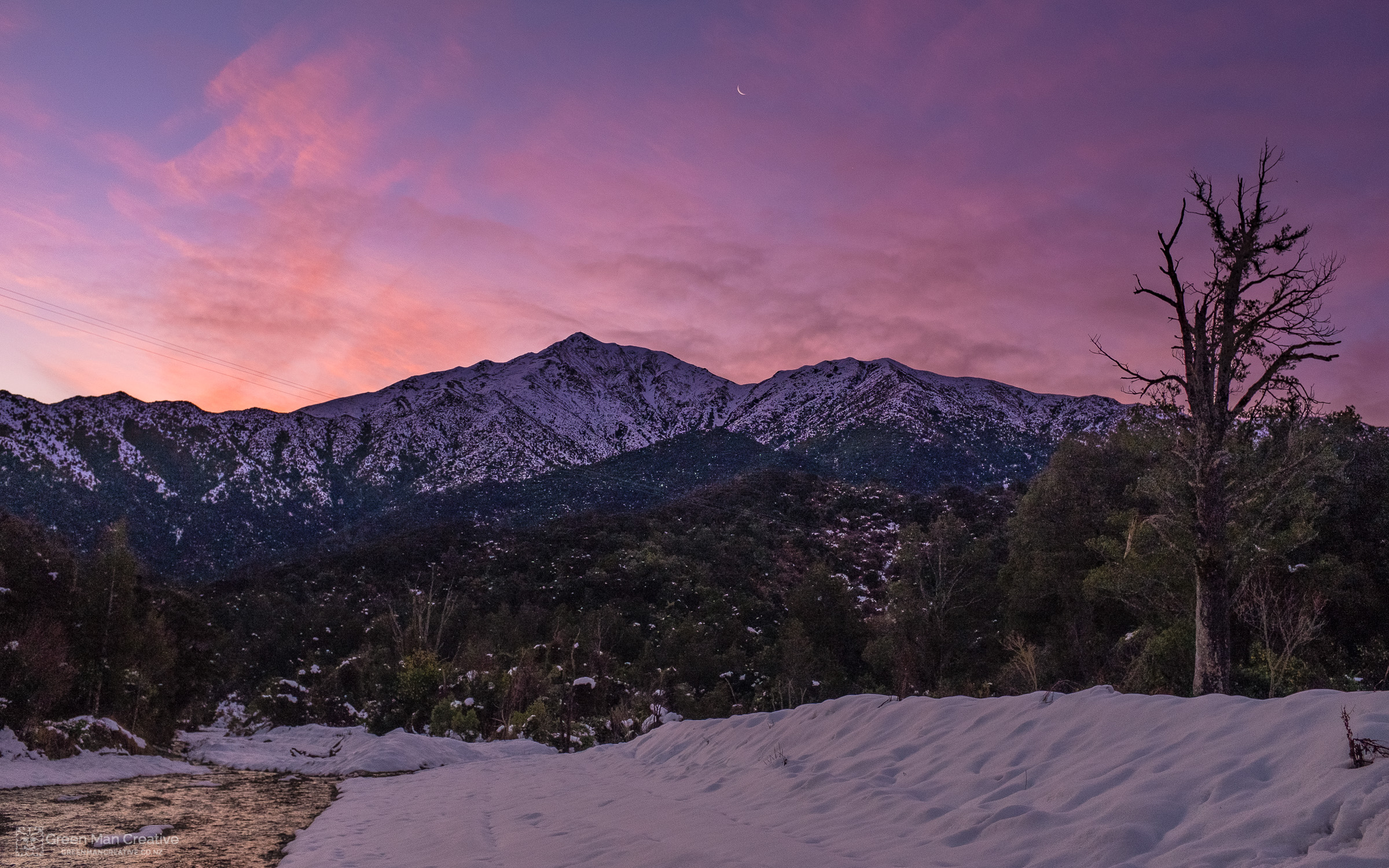 Snow on Mt Peel with Pink Sunrise