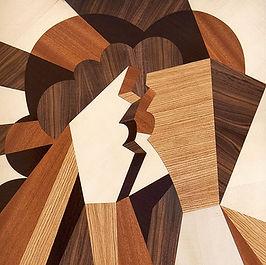 BACIO realizzato con intarsio in legno