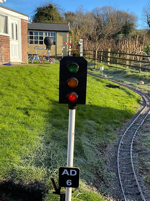 3 Aspect colour light signal inc post.