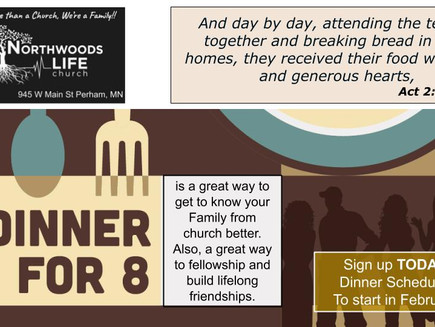 Dinner for 8 Sign up today!
