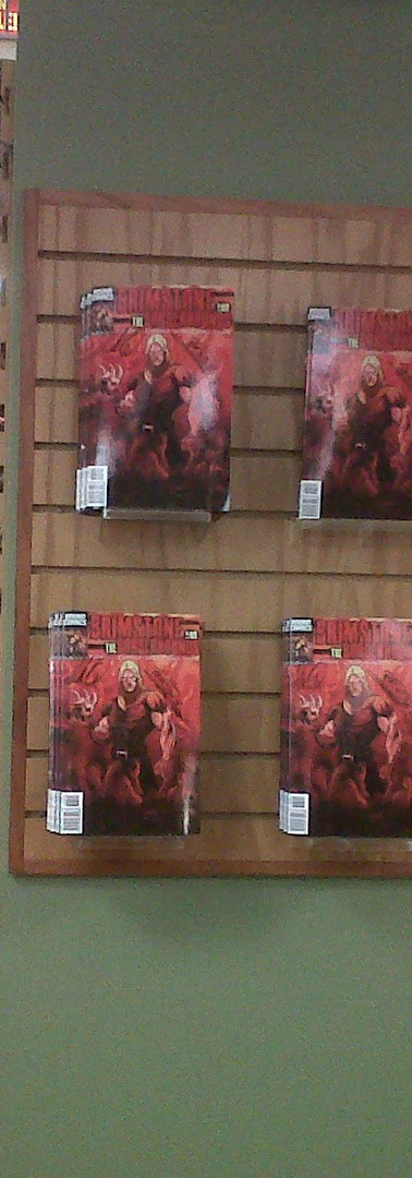 Brimstone and The Borderhounds Signed Books on display at Border's Books