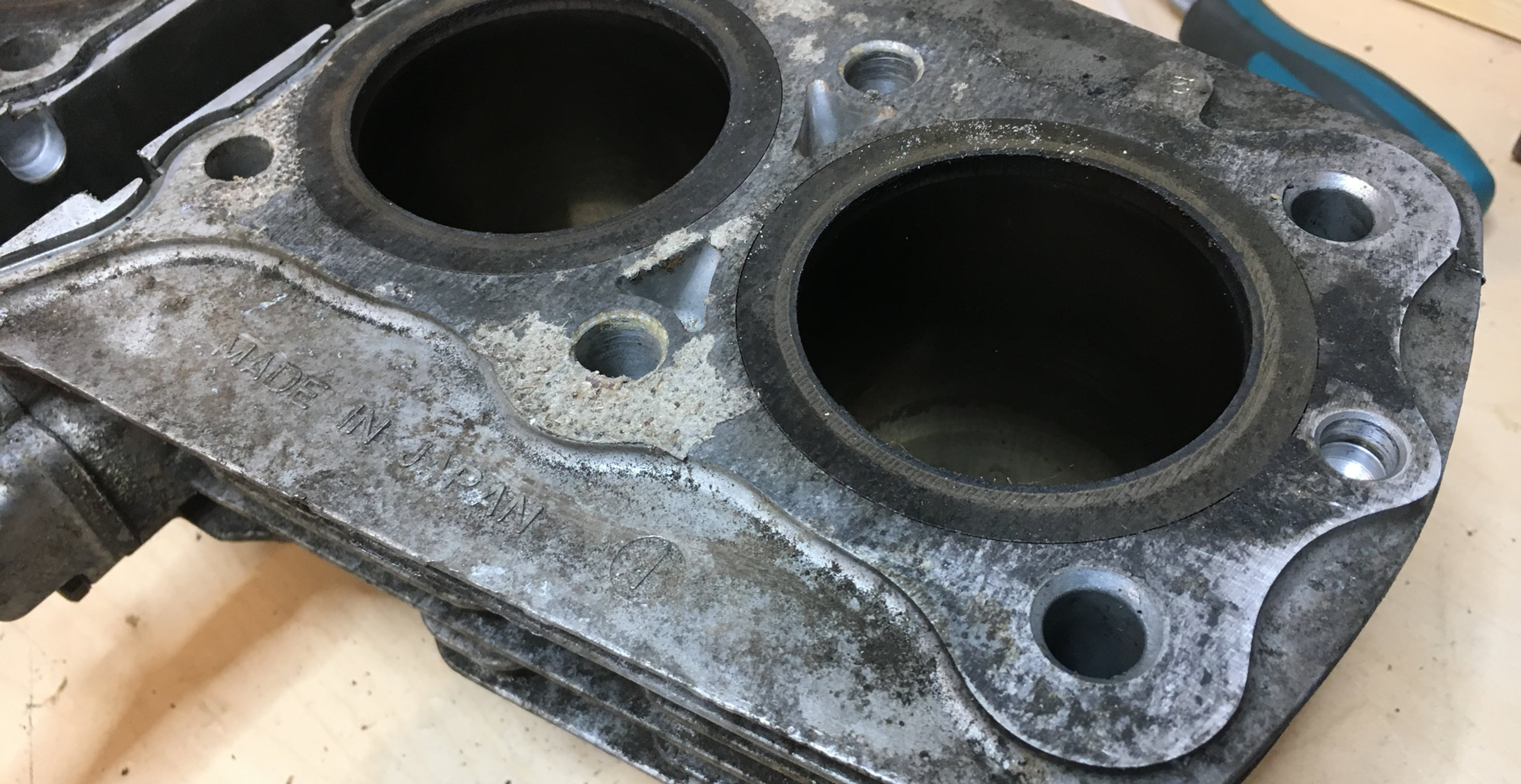 Yeah, we're gonna need to bore those cylinders, put some new pistons and rings in there.