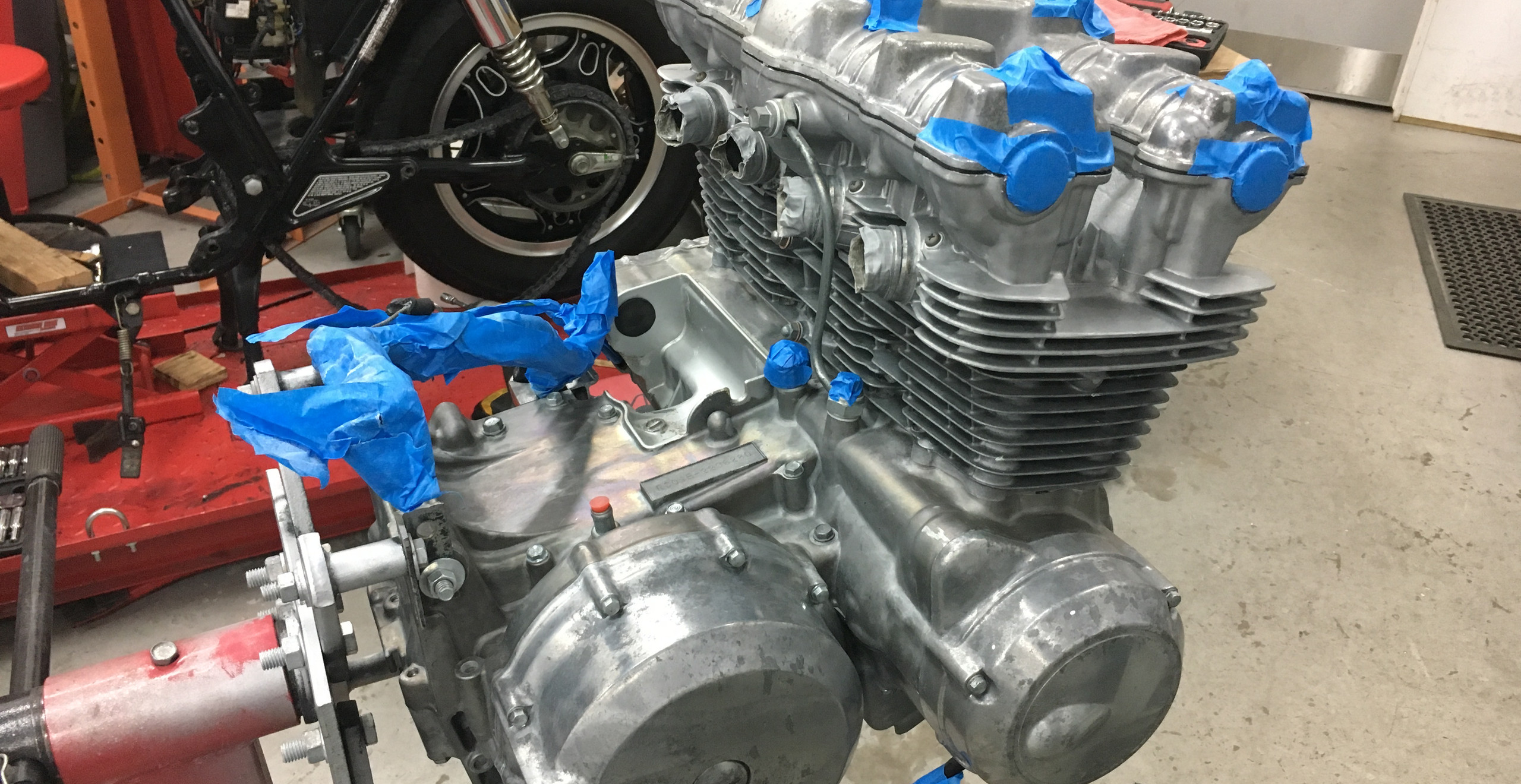 Now we're all cleaned up and rinsed off and degreased and we're masking before we paint and bake the engine.