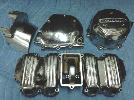 Stripping peeling chrome from Honda CB750 engine cases