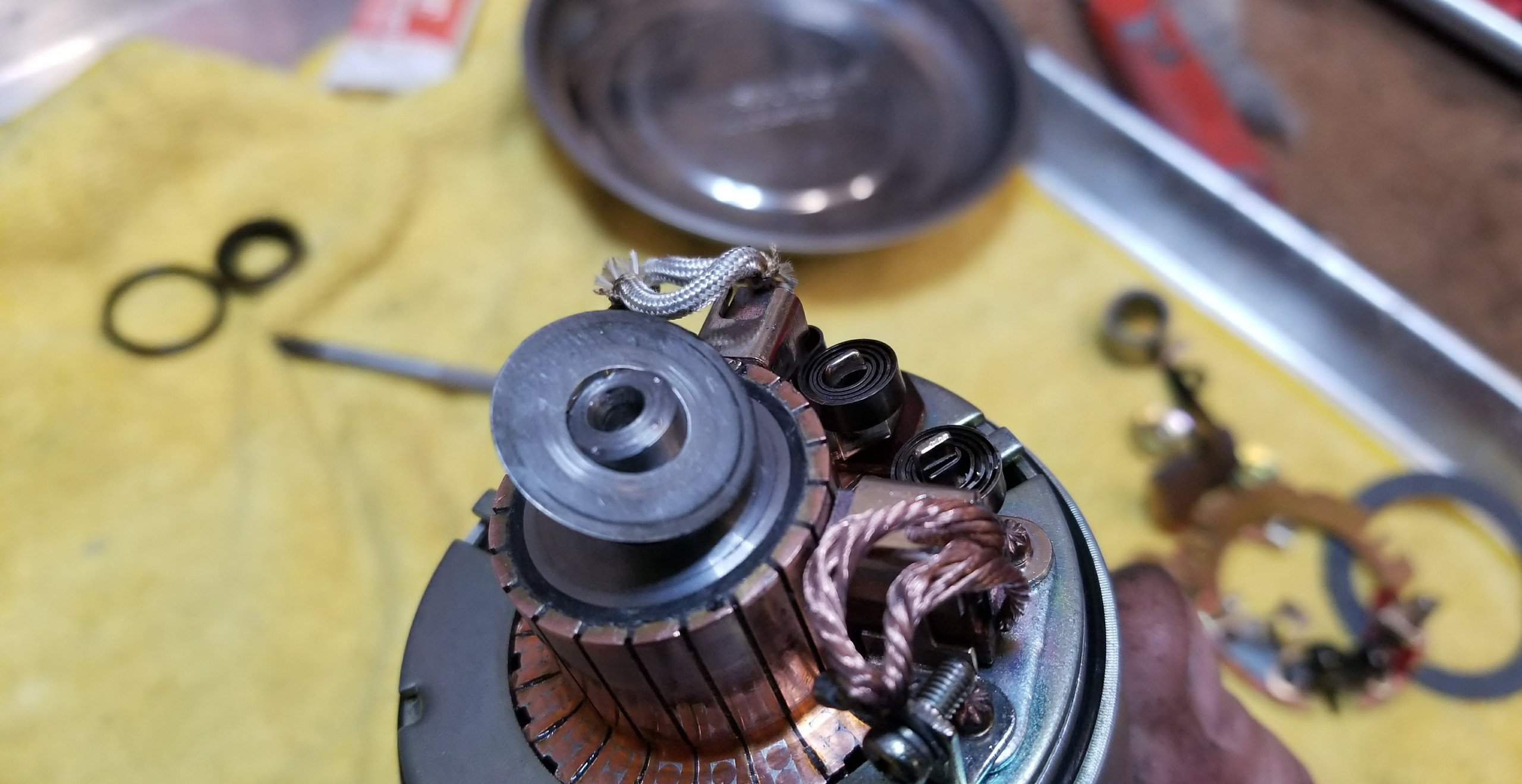 Starter all cleaned up, with   new gaskets, seal and lubrication, plus renewed wiring contacts and insulating grommets.