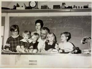 Nancy Nelson Garrett and Family, FHS Chemistry Classroom circa 1970