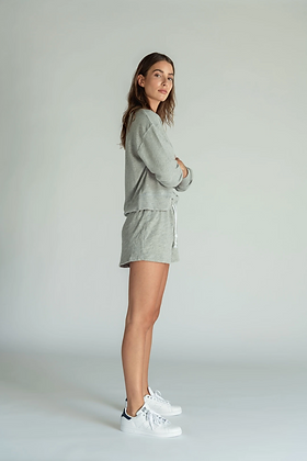 Perfect White Tee: LAYLA Heather Grey Shorts