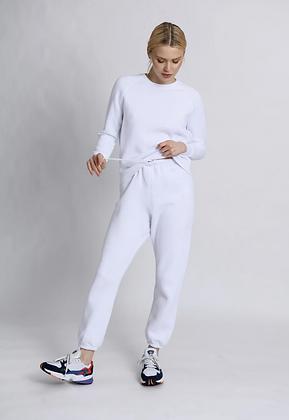 Perfect White Tee: Stevie White Sweatpant