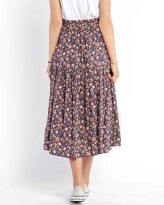 Self Contrast: Navy Lilly Print Skirt