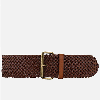 Amsterdam Heritage:  Joan   Wide BROWN  Braided Stretch Leather Belt