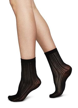 Swedish Stockings: KLARA KNIT SOCKS BLACK