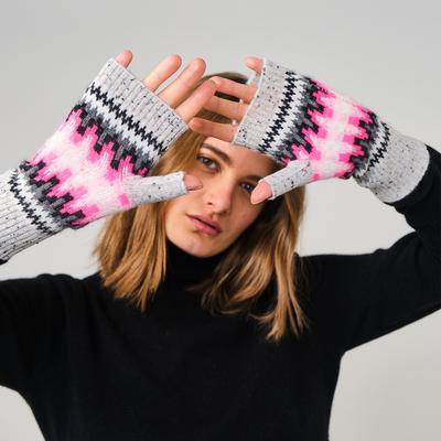 Brodie Cashmere: Electric Fairisle Cashmere Wrist Warmers