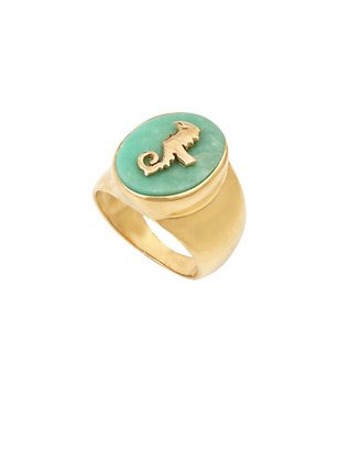 Louise Hendricks: Chrysoprase Wina signet ring   brass gold plated