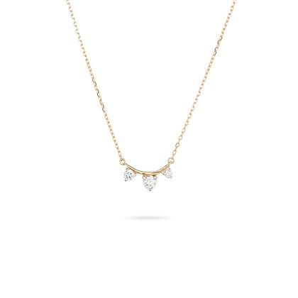 Adina Reyter: 3 Diamond Amigos Curve Necklace | 14k yellow gold