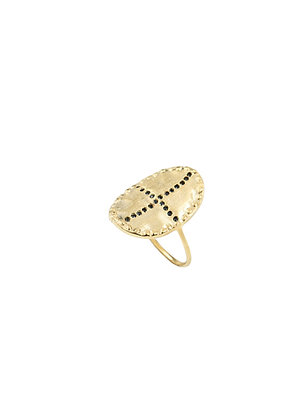 Louise Hendricks: Bazile Cristal Set in black | brass gold plated ring