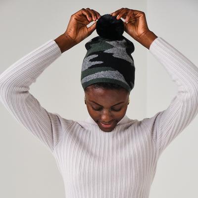 Brodie Cashmere: Camo Cashmere Hat in Khaki