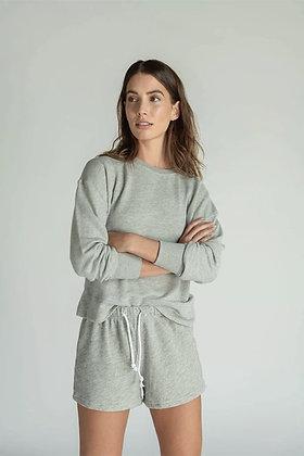 Perfect White Tee: Tyler in Grey Sweatshirt