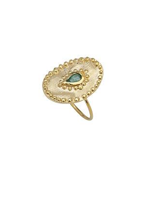 Louise Hendricks: Verine in Emerald | Brass Gold Plated Ring
