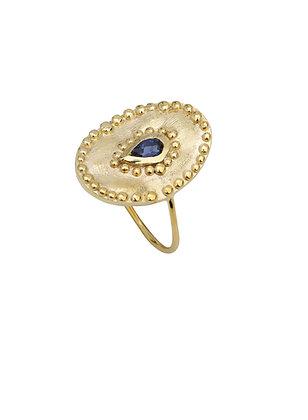 Louise Hendricks: Verine in Iolite | Brass Gold Plated Ring