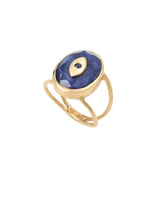 Louise Hendricks: Kyra saphir ring | brass gold plated