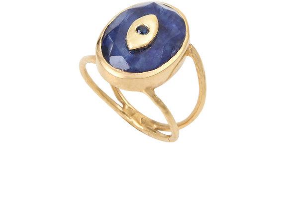 Louise Hendricks: Kyra saphir ring   brass gold plated