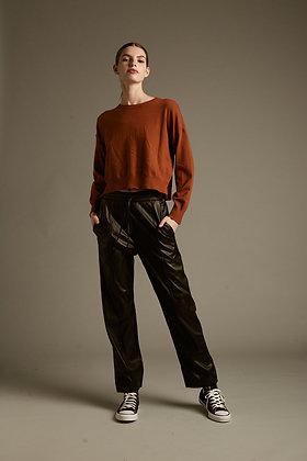 Déluc: Millie Vegan Leather Pant   Black