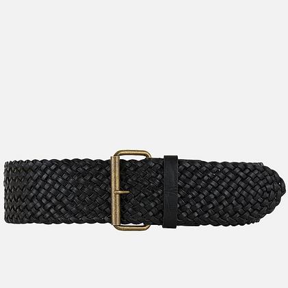 Amsterdam Heritage:  Joan | Wide BLACK  Braided Stretch Leather Belt