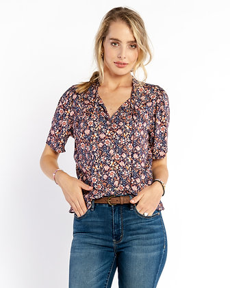 Self Contrast: Navy Lilly Print Blouse