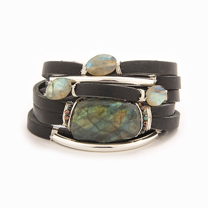 Taylor and Tessier:  Mona    Gold and Labradorite Bracelet