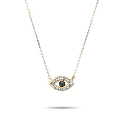Adina Reyter: Baguette Evil Eye Necklace   14k yellow gold