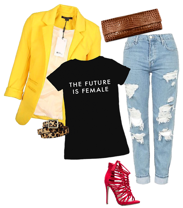 yellow blazer, distressed jeans, red sandals