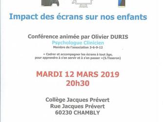 Conférence le 12 mars à Chambly sur les écrans