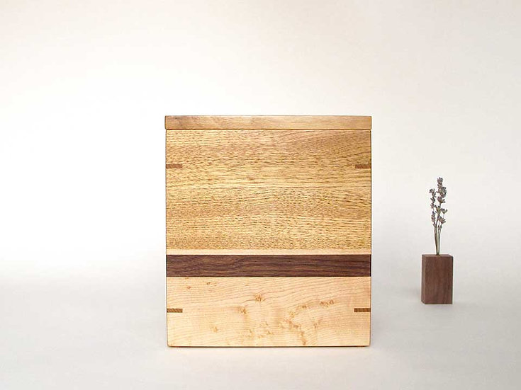 NEW One of a kind simple and elegant wooden urn. Made of butternut, walnut and b