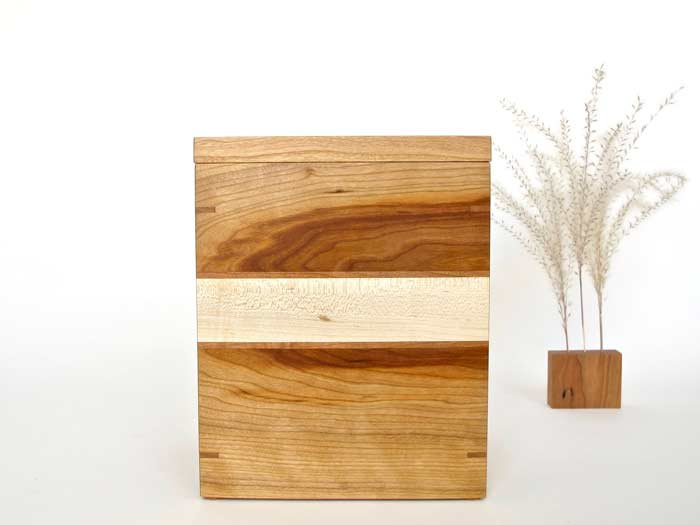 Cherry Wood and Maple Urn