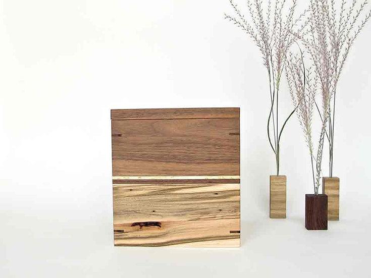 Walnut and Ambrosia Maple Urn With Keepsake Tray