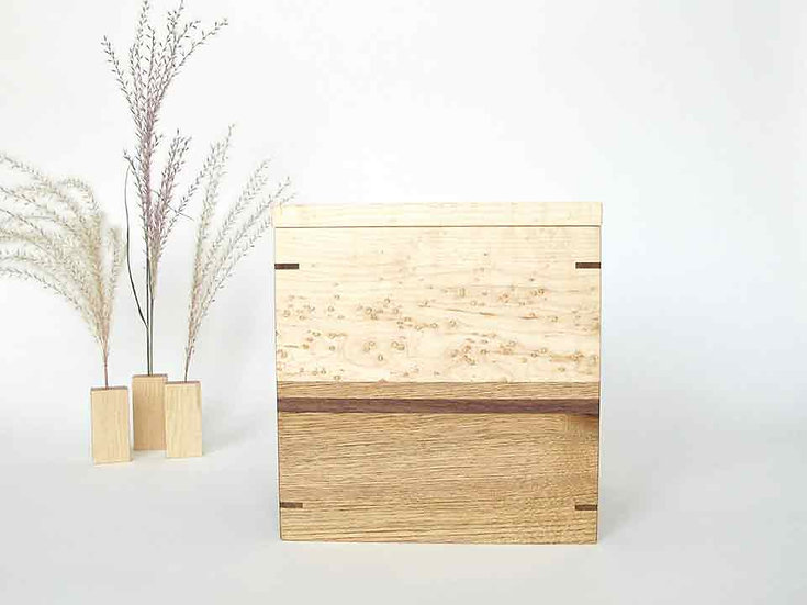 NEW  Birdseye Maple and Butternut Urn With Keepsake Tray