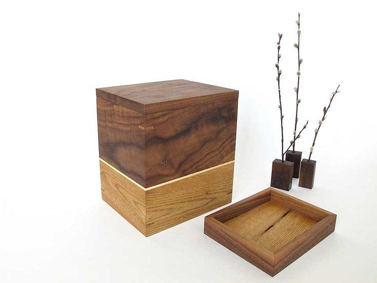 NOUVEAU Urne en bois avec compartiment pour souvenirs