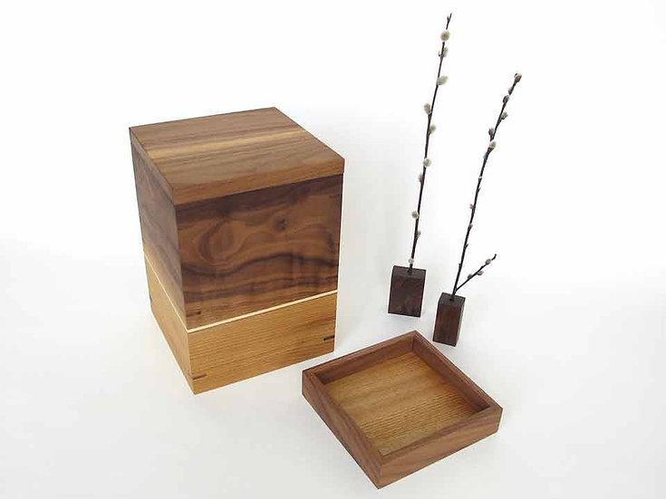 NEW  Walnut and Butternut Urn With Keepsake Tray