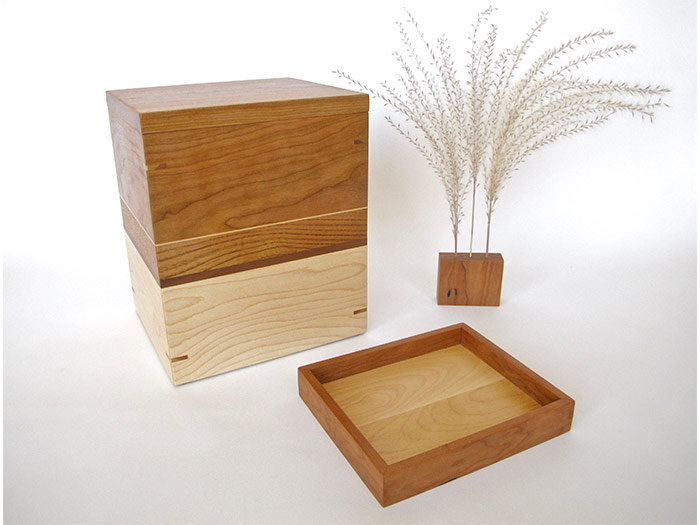 Cherry, Butternut and Maple Urn with Keepsake Tray