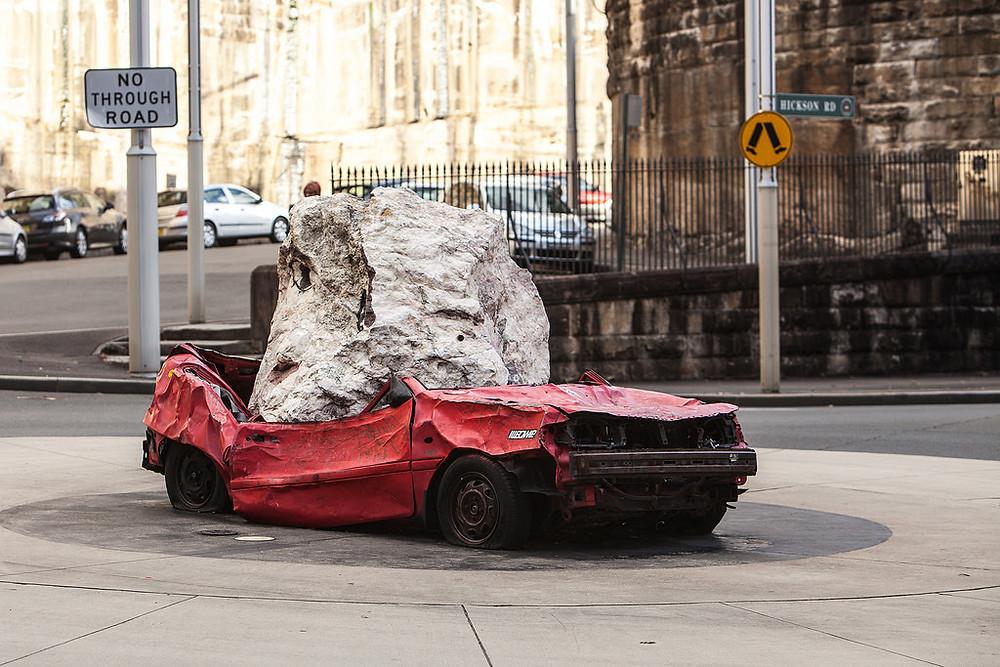 Rock on car, Sculpture Walk, Walsh Bay, Sydney