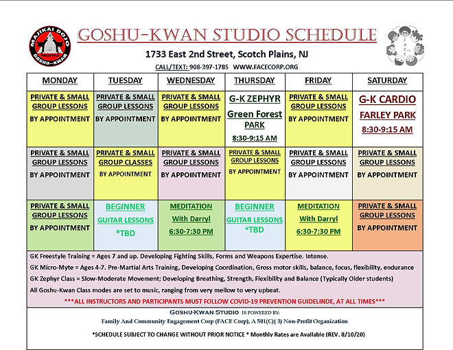 GOSHUKWAN STUDIO SCHEDULE AUGUST 10TH 20