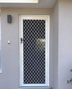 White grille hinged fly door