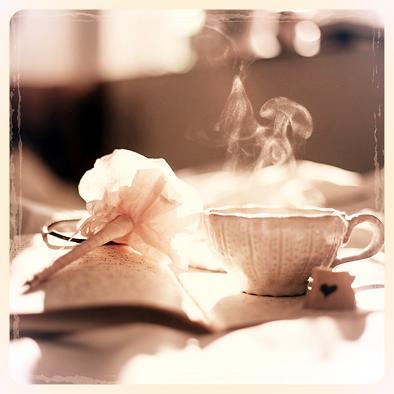 Journal, tea, coffee, self love, self care